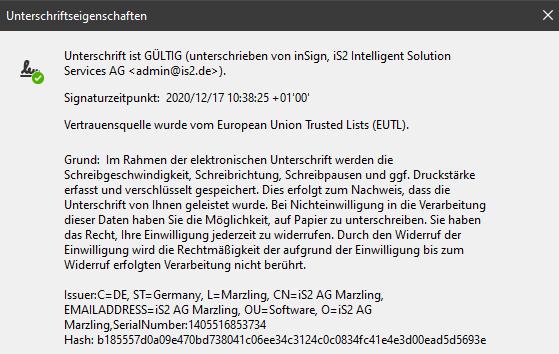 inSign Metadaten im PDF - Unterschriftseigenschaften
