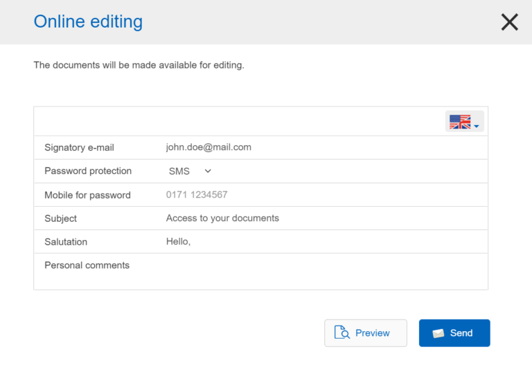 inSign Online editing