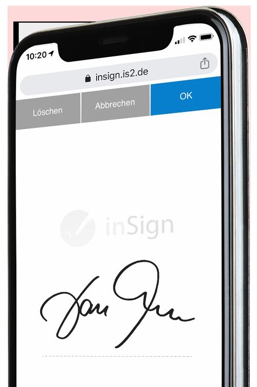 Handy mit Unterschriftsfeld und Unterschrift