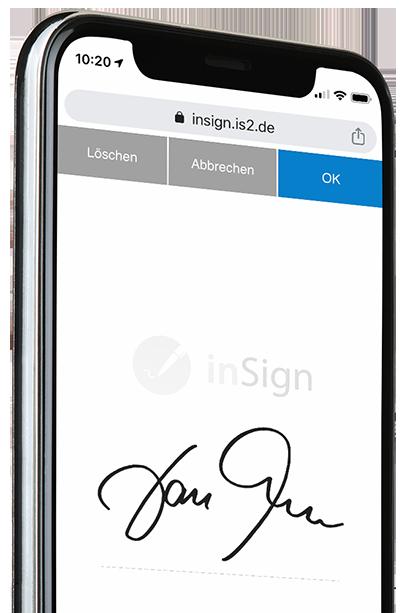 Smartphone inSign mit Signatur