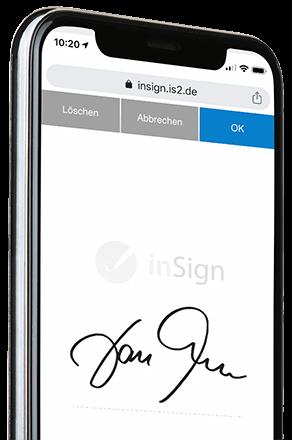 Smartphone mit inSign Unterschriftsfeld