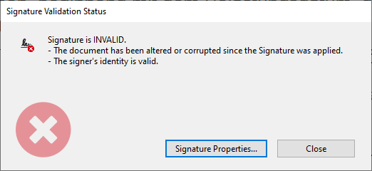 signature validation status invalid