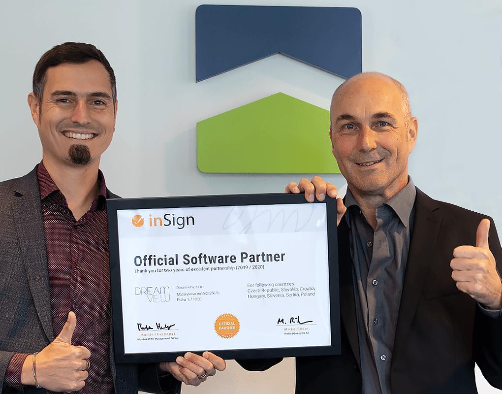Urkunde für Dreamview als inSign Official Software Partner