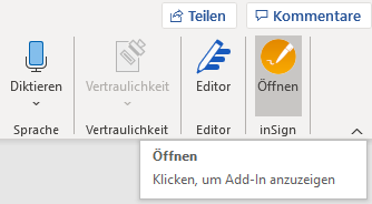 inSign Word-Add-In-öffnen