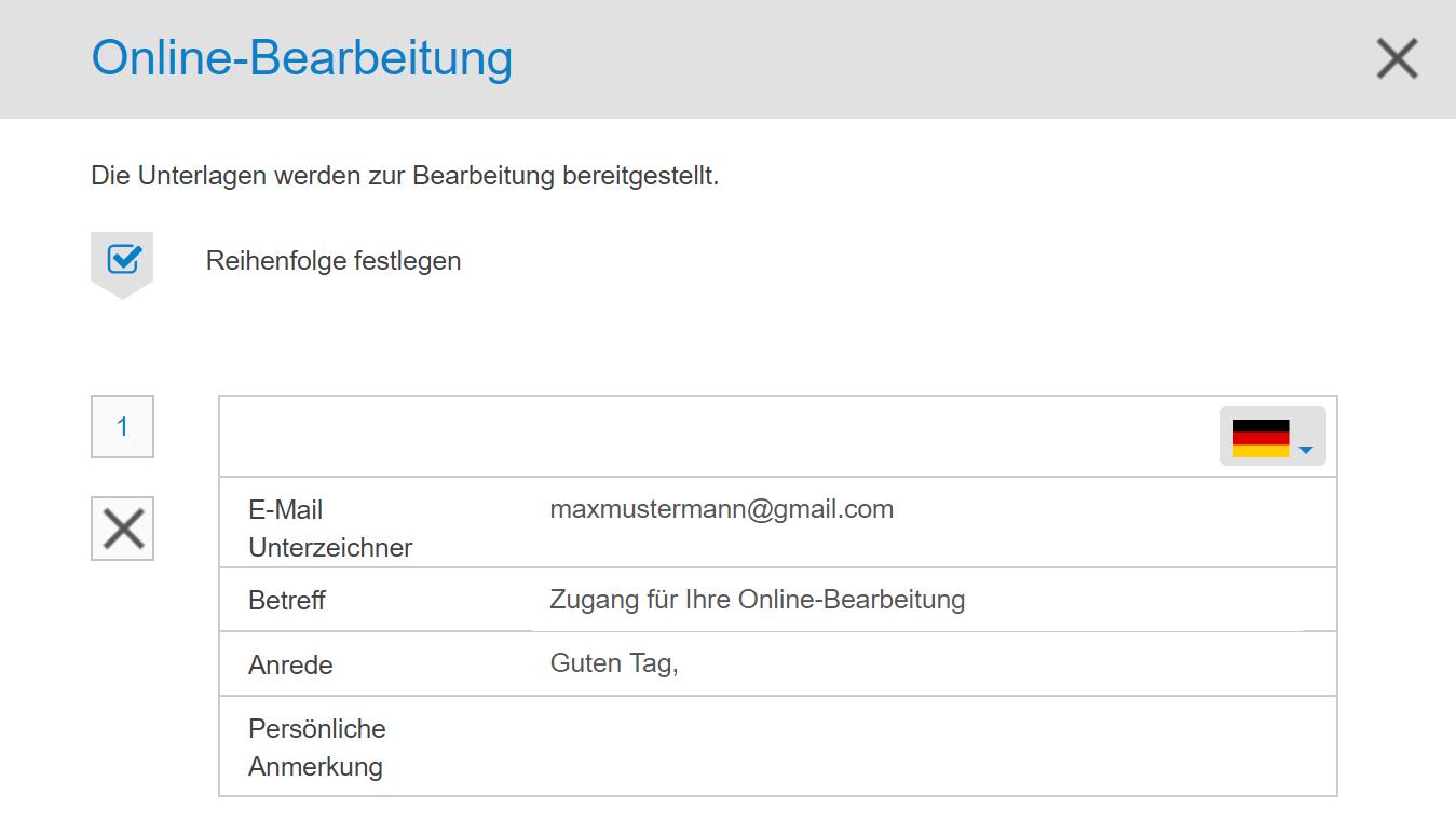 inSign Online-Bearbeitung - Reihenfolge der Unterschriften festlegen