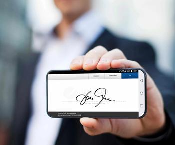 Elektronische Unterschrift auf Smartphone