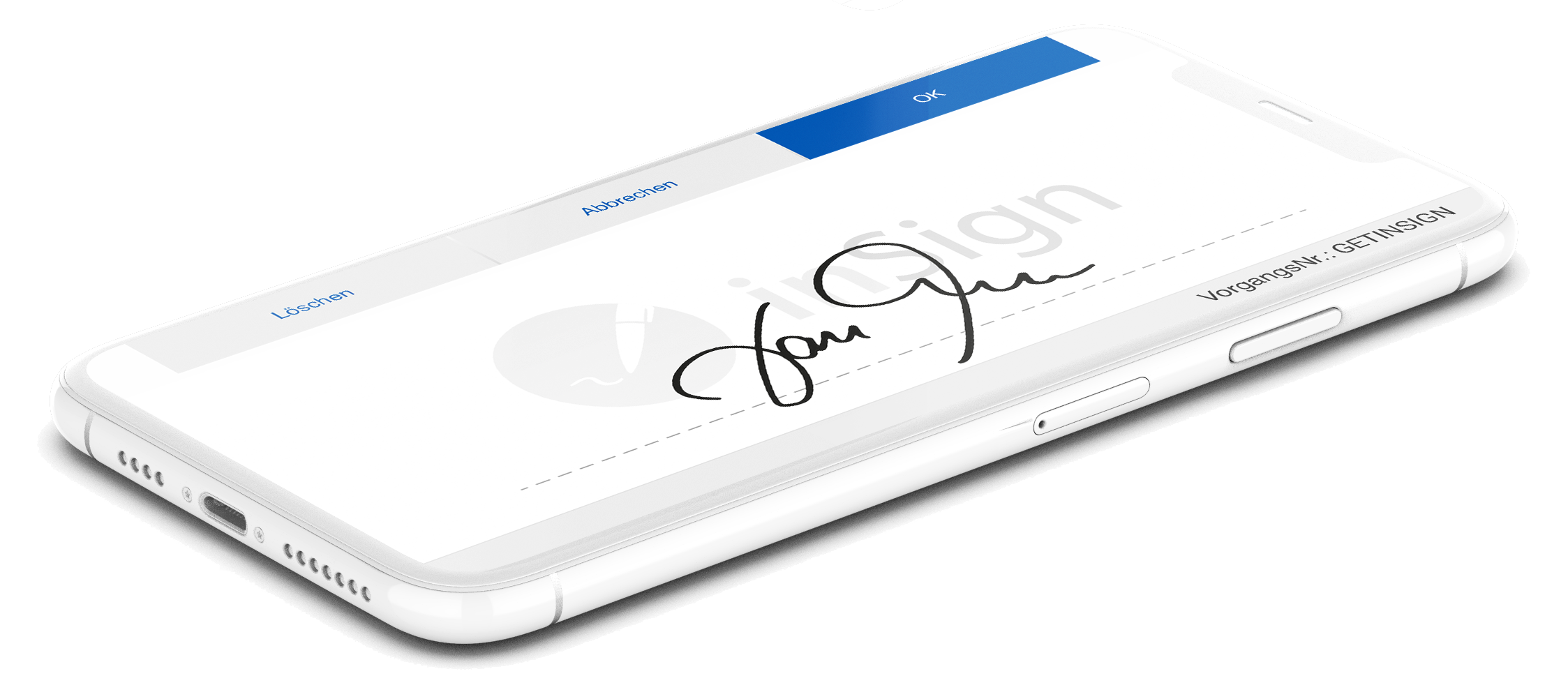 Elektronische Unterschrift inSign auf Smartphone
