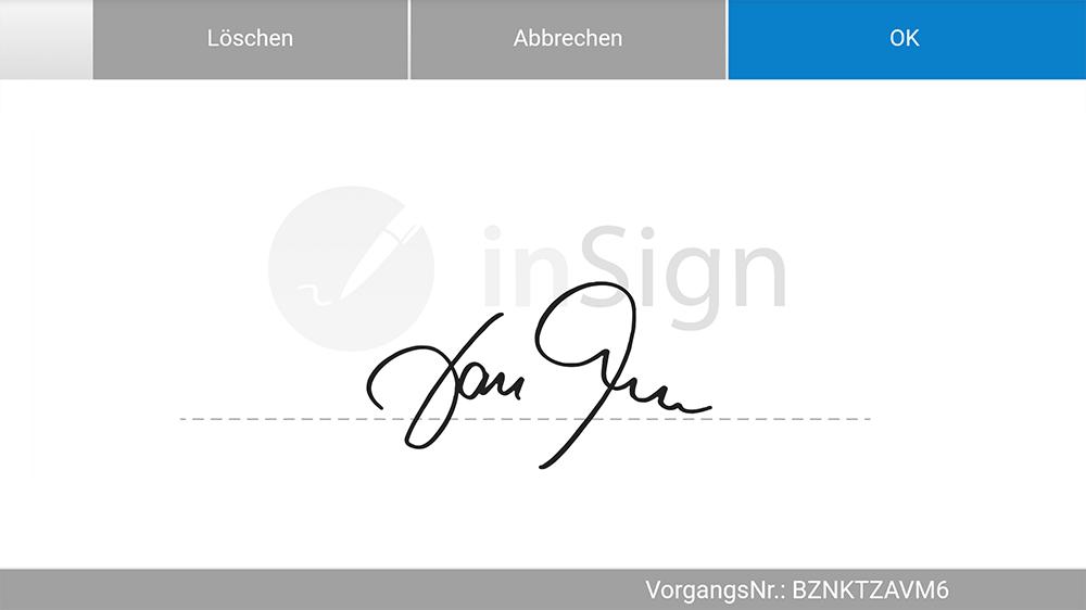 inSign Unterschriftsfeld mit Signatur