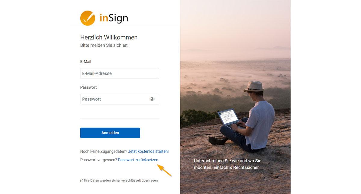 inSign Passwort zurücksetzen