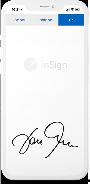 Smartphone inSign Elektronische Signatur
