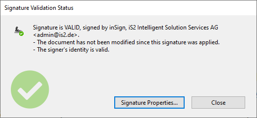 signature validation status valid